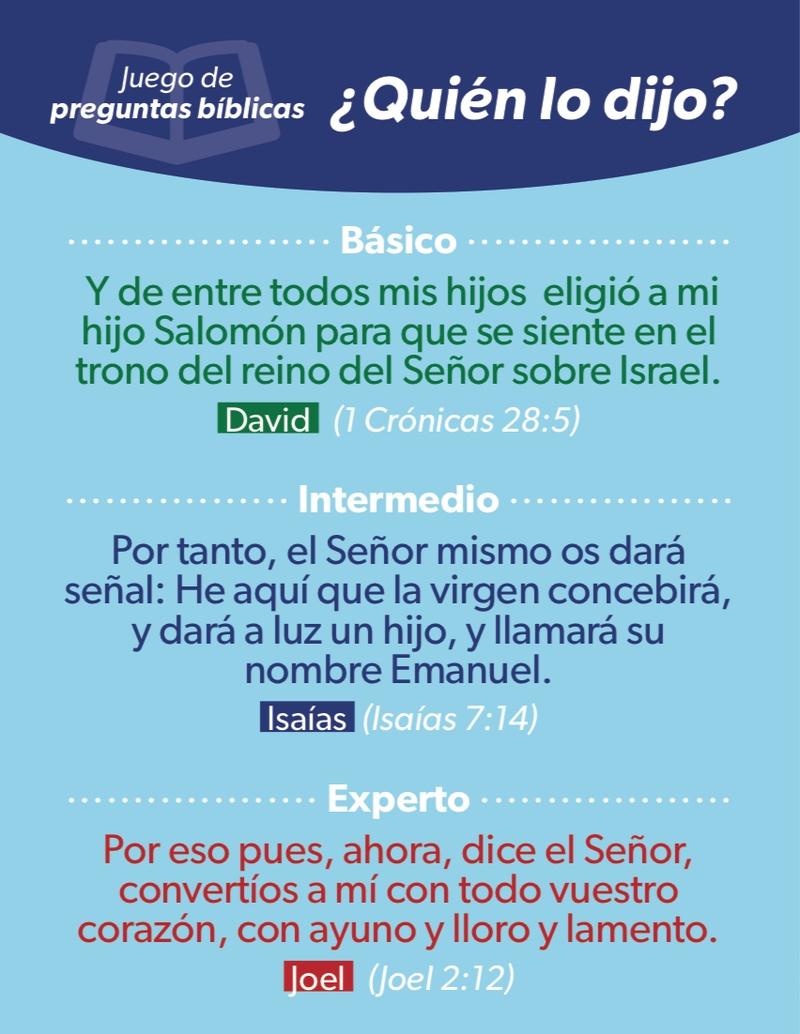 Quien Lo Dijo Juego De Preguntas Biblicas Luciano S Gifts