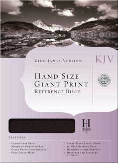 Bible KJV Hand Size Giant Print Reference Bible, Burgundy Bonded Leather