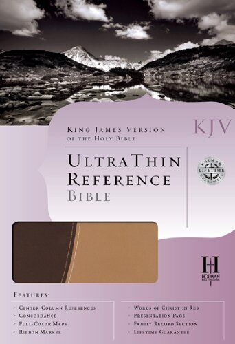 Bible KJV Ultrathin reference Bible Brown & Tan simulated Leather (en ingles)