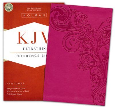 KJV UltraThin Reference Bible, Pink LeatherTouch (Biblia en inglés)