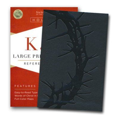 KJV Large Print Compact Reference Bible, Charcoal LeatherTouch